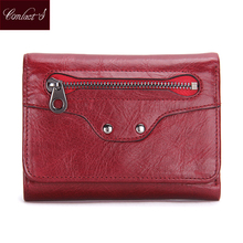 Trifold Women Wallet Fashion Ladies Short Wallets Genuine Leather Small Wallet Coin Purse Girl Card Holder Black Red Clutch Bag