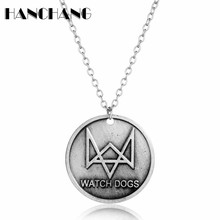 Retro Jewelry Watch Dog Logo Figure Round Coin Pendant Necklace Link Chain Summer Cloth Wild Decoration Accessories Neck Lace