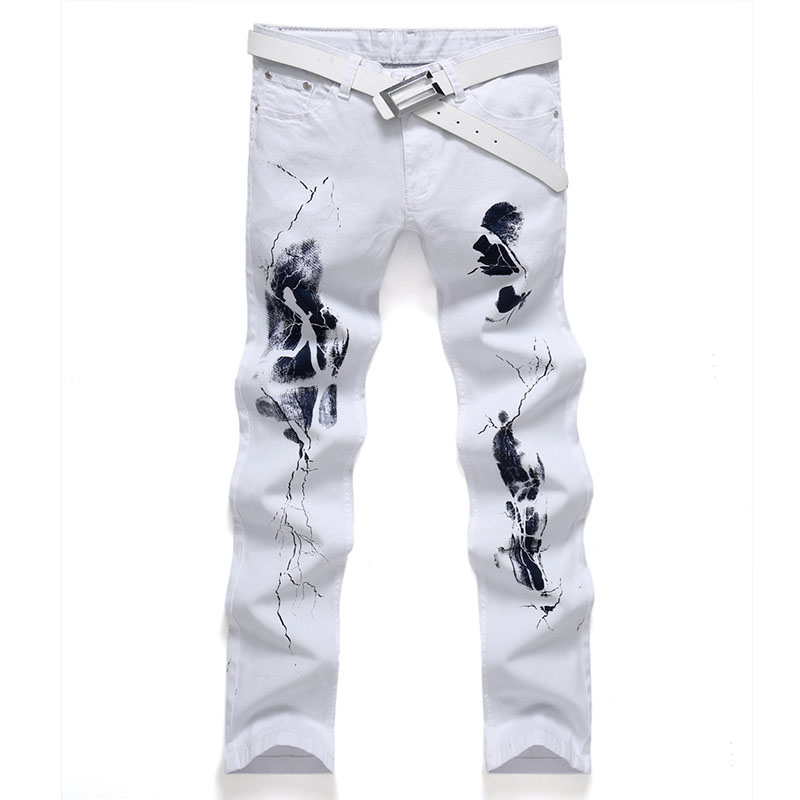 New luxury brand fashion stretch mens jeans white  printing jeans men casual slim Elastic color printing head Lightning jeansОдежда и ак�е��уары<br><br><br>Aliexpress