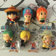 wholesale 50pcs/lot 6cm original ONE PIECE figure kawaii Luffy 6 people squishy queeze toy cell phone pendant squishies bread