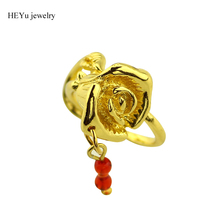 20pc/lot Customized Jewelry Beauty and The Beast Rose Design Engagement Ring Gold Color with Red Swing Crystal Beads women rings