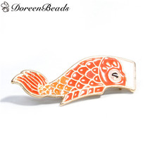 DoreenBeads Japanese Flag Fish Shape Brooches Pin Back Enamel Broche Badge Safe Lapel Pin Women Clothes Orange Blue 1PC(China)