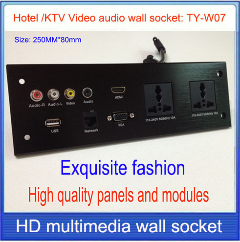 wall socket \ HD HDMI Video audio VGA NETWORK  RJ45 information outlet panel /multimedia home hotel rooms KTV wall socket TY-W07<br>