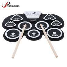 High Quality Silicone Portable Foldable Digital USB Midi Roll-up Electronic Drum Pad Kit with Stick and Foot Pedal(China)