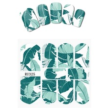 Nail Sticker WATER DECAL SLIDER FLOWER FLORID JUNGLE GREEN BANANA LEAVES PEONY TROPICAL HOT SUMMER RU325-330