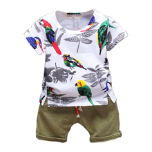 12M-4T Baby Girls Boys Clothing Sets 2017 Summer Birds Pattern Kids Clothes Fashion Boys Girls Clothes Sets Costume for B