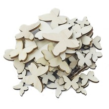 50pcs Mixed Size Wooden Butterfly Cutouts Craft Embellishment Gift Tag Wood Ornament for DIY Wedding Party Favors and Gifts Box