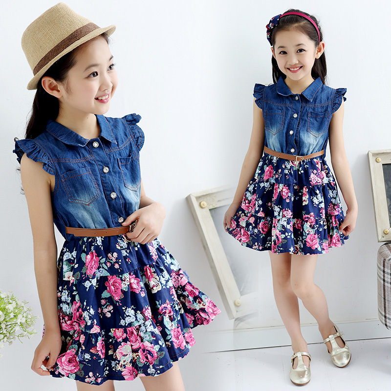 High-end quality baby kids cotton floral jeans dresses for party soft denim flower button front down shirt dress for a girl<br><br>Aliexpress