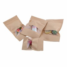 20pcs Kraft Paper Bags Pouch Stand Up Coffee Food Zip Lock Packaging With Window 4 Sizes Wedding Treat Bags(Hong Kong)