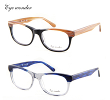 Eye wonder Wholesale Women's and Men's Vingtage Spring Hinged Hand-made Acetate Optical Eyeglasses Frames Patchwork Colors