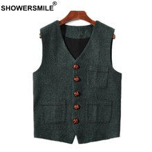 SHOWERSMILE Green Suit Vest Vintage Waistcoat Men Slim Fit Wool Herringbone Vest Mens British Blazer Sleeveless Jacket Brand(China)