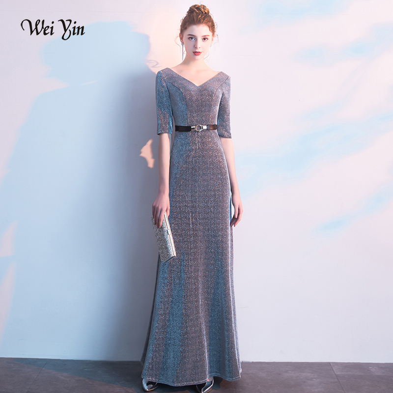 weiyin V Neck Mermaid Evening Dress 2019 Gray Half Sleeves Elegant Evening Gowns Long Party Dresses Robe De Soiree WY1455