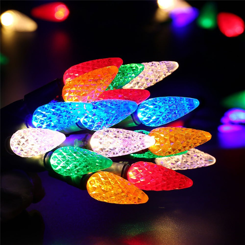 LEDERTEK Faceted C6 LED Christmas Lights, 33ft 100 LED Bulbs, 120V UL Certified Fairy Lights for Indoor and Outdoor Decoration(China)