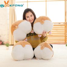BOOKFONG Cartoon Corgi Sexy Hip Plush Pillow Buttocks Cushion Soft Stuffed Animal Doll Kids Toy 38*36cm