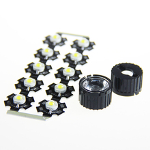 10 PCS LED 1W 3W LED Chip with LED lens High Power light emitter300mA 3.2~3.5V with 20MM Star PCB+Diameter 20mm LED Lens