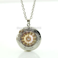 Wholesale Compass Locket Necklace Glass cabochon dome Art Photo Jewelry Locket Pendant Gift For Her Free shipping WNK118