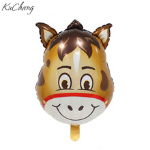 5pcs/lot Animal Head Shaped Foil Balloons Kids Toys Gifts Birthday Party decoration Supplies animal Brown horse Helium Balloons(China)