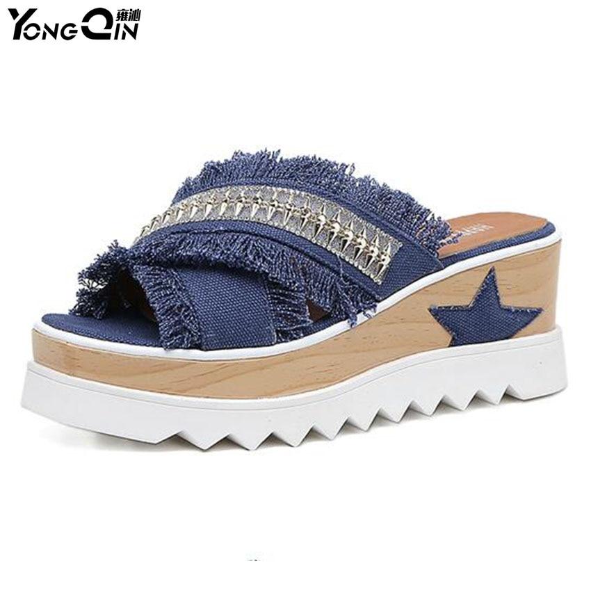 New 2018 Female Wedges Sandals Wild  Rhinestone cowboy Cool Slipper Thick Bottom Non-slip Slippers Flip Flops  Shoes<br>