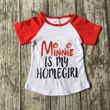 new arrival summer baby girls Minnie is my homegirl short cotton mouse boutique cute top shirts raglans clothes kids wear(China)