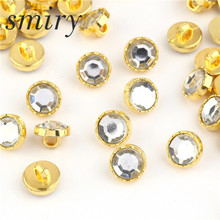 Smiry 100pcs Gold Acryl Mushroom Pattern Scrapbook Craft DIY Buttons For Shirt Clothes Sewing Garment Supplies Accessory(China)