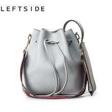 LEFTSIDE Colors Fashion PU leather bolsa 2016 New bucket bags with a small bag crossbody bags for women handbags hand bag ladies