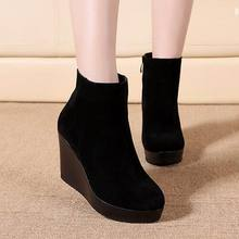 Ankle Heel Boots antumn/winter Style Ankle Boots For Women Martin Boots Wedges Boot Women's Shoes Q6702