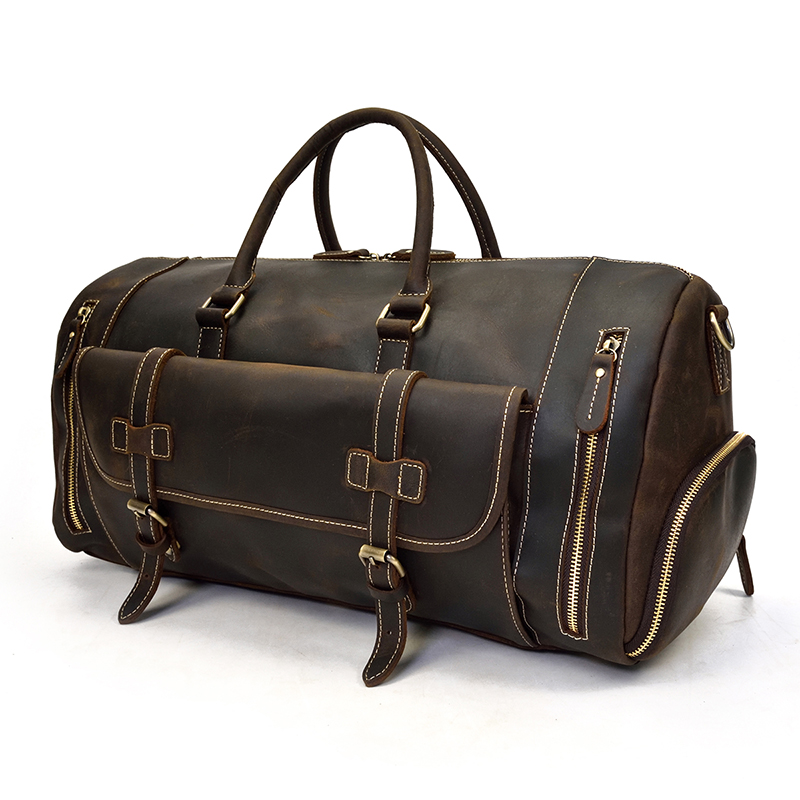 a genuine leather duffle in coffee color with a vintage design