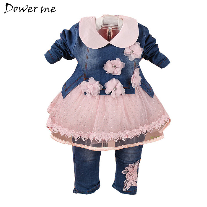 Baby Girl Clothes Lace Set Sping Autumn High Quality Girls Denim Jacket +White Dress+Jeans Pants 3pcs Suits Infant Clothing Sets<br>