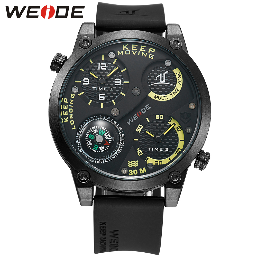 WEIDE Mens Compass Quartz Watch Silicone Strap Stainless Steel Buckle Analog Multiple Time Zone Waterproof Watches Wristwatch<br>