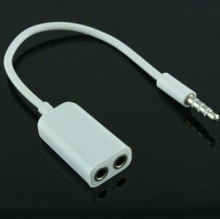 MOONBIFFY 1PC WHITE New 3.5mm Earphone Headphone M 1 to 2 Dual For Audio Splitter Cable Adapter Jack