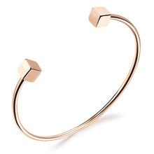 Heyrock Double Square Cube Open Cuff Bangle Bracelet for Women Rose Gold Stainless Steel Jewelry Gift(China)