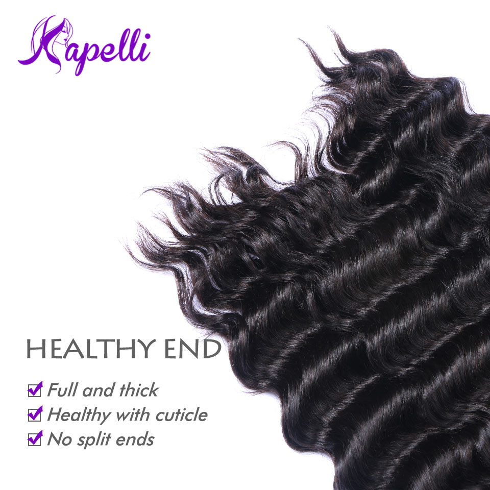 Kapelli Brazilian Deep Wave 3 Bundles Deal 8-26 Inches Non Remy Hair Extension 100% Human Hair Weave Bundles Natural Black Color