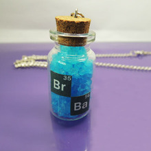 Fashion Jewelry Breaking Bad glass bottle Blue Saltcellar Short Necklace  Women Gift