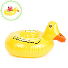 PVC Inflatable Pool Float Mini Cute Duck Drink Can Holder Floating Beach Swimming Pool Toys Swimming Ring For Baby Kids