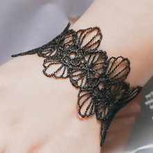 SL230 Lace Hollow Flower Bracelets & Bangles Vintage Punk Black Pulseiras Women Bracelet Jewelry Bijoux 2017 Promotion