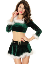 Hot Selling Winter New Year Cosplay Clothes Sexy Christmas Costumes Women Adult Elf Top with Marabou LC7206 fantasias adulto