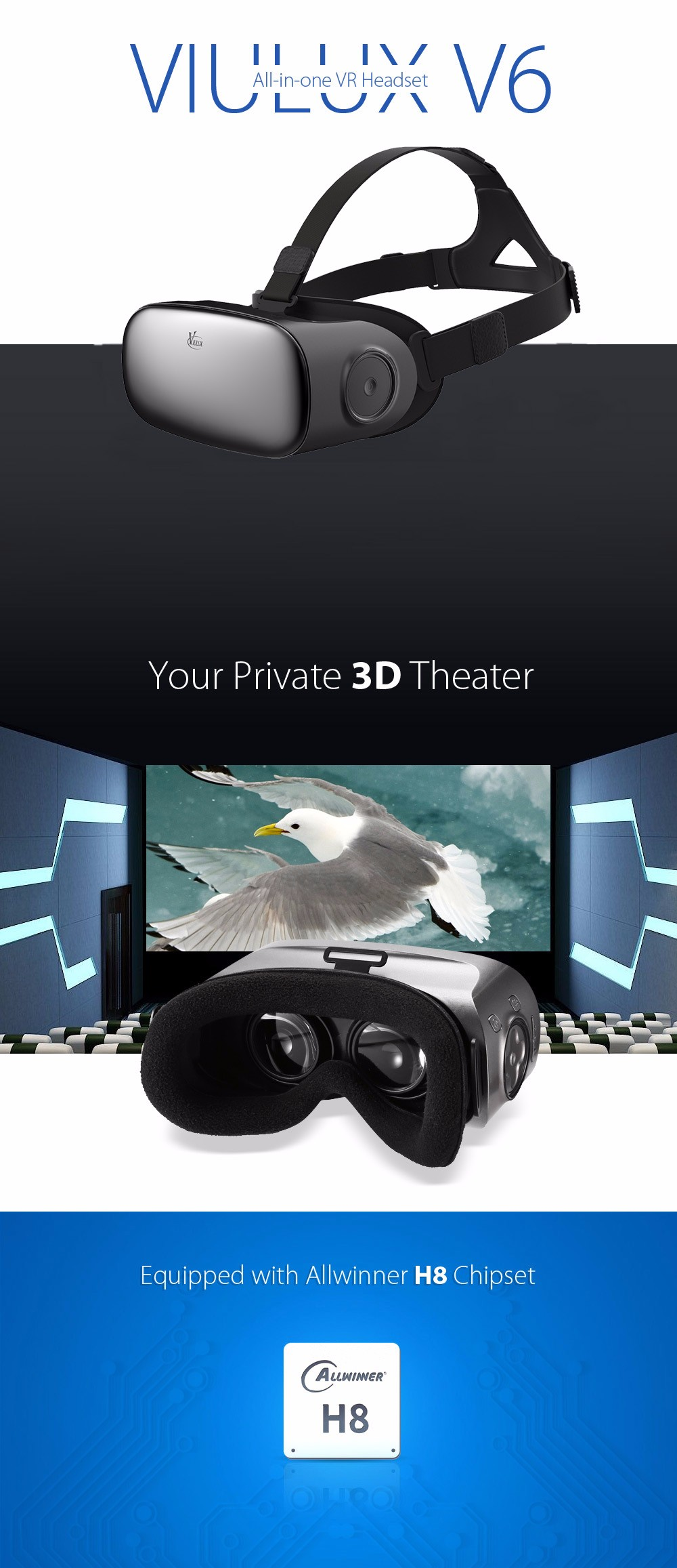 Original VIULUX V6 All-in-one VR 3D Headset Bluetooth WiFi 110 Degree FOV IPD Adjustment 5.5 inch Display Allwinner H8 Chipset