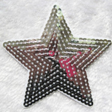 10pcs fashion silver STAR Patch sequined logo Kids clothes women Motif Embroidered iron on patches for clothing