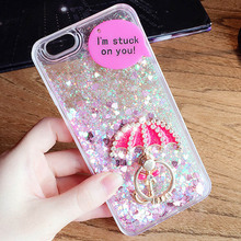 Flowing sand mobile phone case shining anti-knock kickstand rhinestone for iPhone 6 plus 7 plus cellphone cover(China)