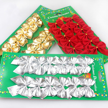 geinne Red and gold and silver Christmas decorations flocking the bowknot is the Christmas tree decorations Ribbon bow