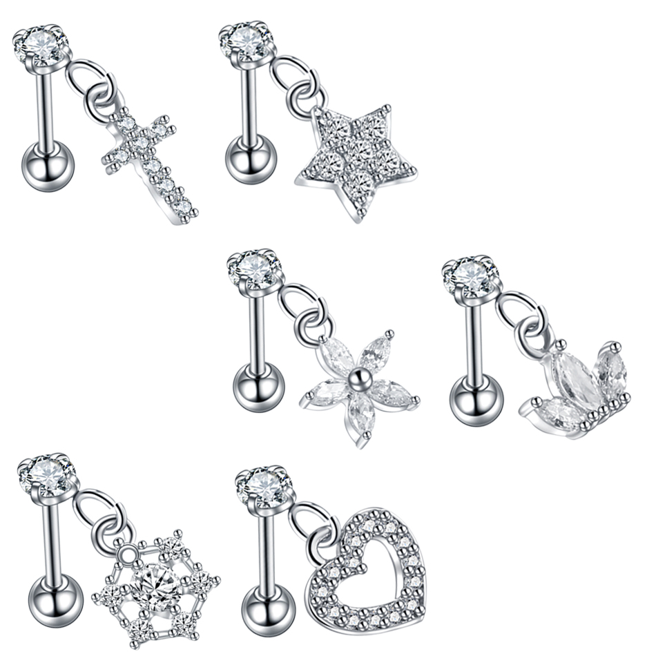 5pcs Nose Hoop Rook Daith Helix Tragus Rings Anchor Crown Heart Star Butterfly