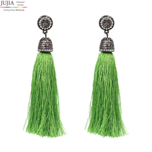 JUJIA 6 colors Hot sale good quality long tassel earrings fashion women statement dangle Earrings for women Fringing earrings(China)