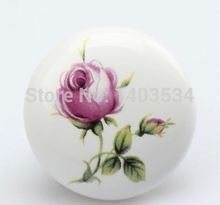 Dia.38mm = 1.5 inch Single hole Ceramic knob Kitchen Furniture knob cabinet knob drawer knob with rose flower print