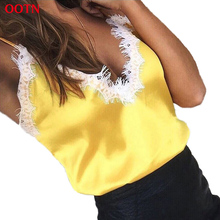 OOTN Lace Tops Women Female Sexy Golden Pink Black Tank Top Silk Camisole Evening Club Party 2018 Summer Camis Satin Crop Top(China)