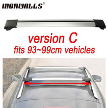 Ironwalls 1x Car Roof Rack Cross Bar For 93cm~99cm Top Luggage Cargo With Lock System For Most Vehicles With Raised Side Rails