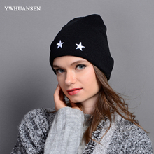 YWHUANSEN Autumn Winter Unisex Beanies Hats Embroidery Star Knitted Hat For Men Popular Gorro Feminino Inverno Skiing Hat Female(China)