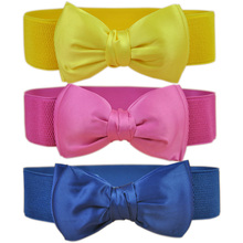 Trendy Fashion Wide Waist Belt High Quality Bowknot Elastic Women Belt(China)