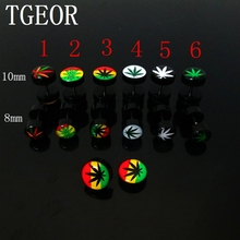 free shipping New arrive wholesale piercing 20pcs 8mm illusion cheaters rasta leaf pattern logo print Acrylic ear Fake Plugs