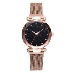 Женские кварцевые часы, розовое золото и кристаллы