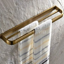 Bathroom Accessory Fitting Retro Antique Brass Wall Mounted Bathroom Double Towel Bar Towel Rack Towel Rails Holder aba173(China)